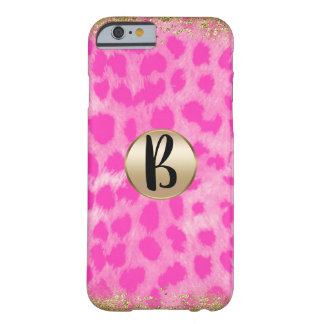 Pink Leopard Cheetah Print Gold Glitter Monogram Barely There iPhone 6 Case