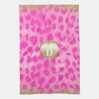 Pink Leopard Cheetah Print Gold Glitter Monogram Kitchen Towel