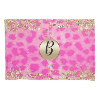 Pink Leopard Cheetah Print Gold Glitter Monogram Pillowcase