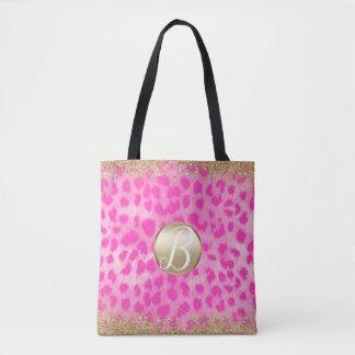 Pink Leopard Cheetah Print Gold Glitter Monogram Tote Bag