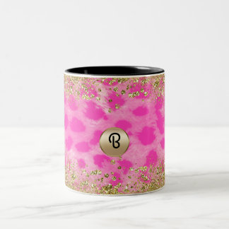 Pink Leopard Cheetah Print Gold Glitter Monogram Two-Tone Coffee Mug