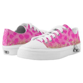 Pink Leopard Cheetah Print Gold Glitter Trendy Low-Top Sneakers