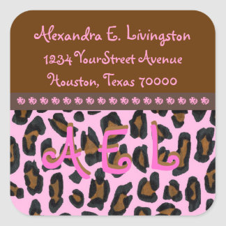 Pink Leopard Fur Address Labels