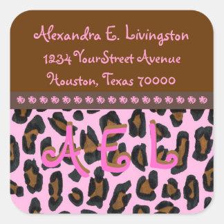 Pink Leopard Fur Address Labels Square Sticker