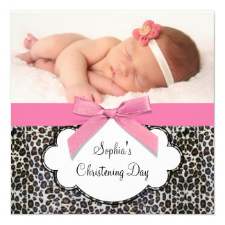 "Pink Leopard Girls Christening 5.25"" Square Invitation Card"