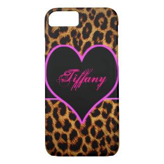 Pink leopard heart iPhone 7 case