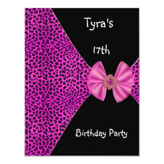 "Pink Leopard  Invitation Cute Bow 17th Birthday 4.25"" X 5.5"" Invitation Card"
