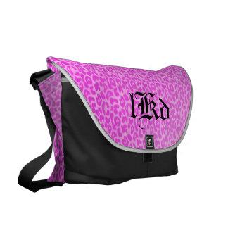 Pink Leopard Monogram Messenger Bags