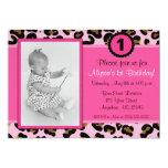 "Pink Leopard Photo Birthday Invitation 5"" X 7"" Invitation Card"