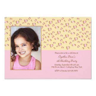 Pink Leopard Photo Invitation