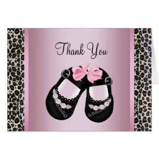 Pink Leopard Pink Black Baby Girl Shower Thank You Card