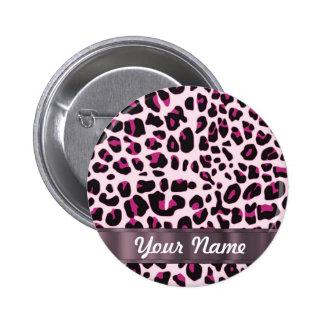 Pink leopard print 2 inch round button