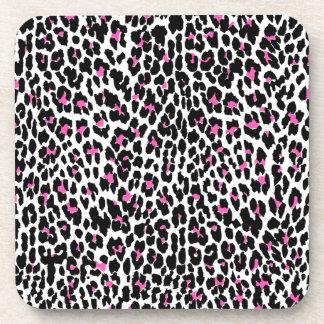pink leopard print beverage coasters