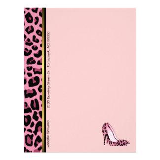 Pink Leopard Print Custom Letterhead Stationery