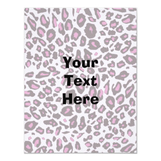 "Pink leopard print 4.25"" x 5.5"" invitation card"