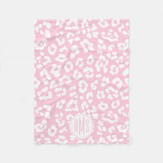 Pink Leopard Print Monogram Initial Fleece Blanket