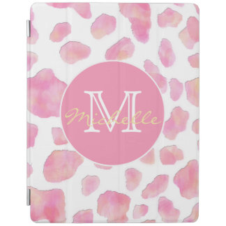 Pink Leopard Print Monogram iPad Smart Cover iPad Cover