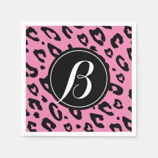 Pink leopard print napkins with custom monogram paper napkin