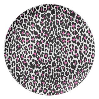 pink leopard print party plate