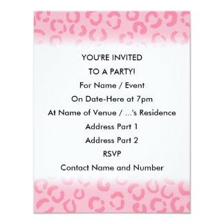 """Pink Leopard Print Pattern. 4.25"""" X 5.5"""" Invitation Card"""