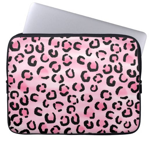 Pink Leopard Print Pattern. Computer Sleeve