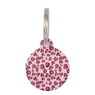 Pink Leopard Print Pattern With Custom Info Pet Tag