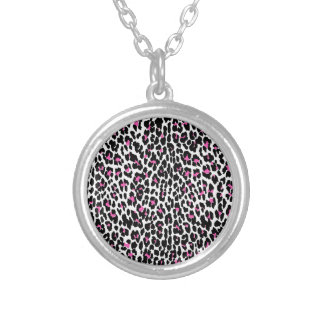 pink leopard print silver plated necklace