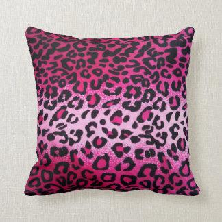 Pink Leopard Print Throw Pillow