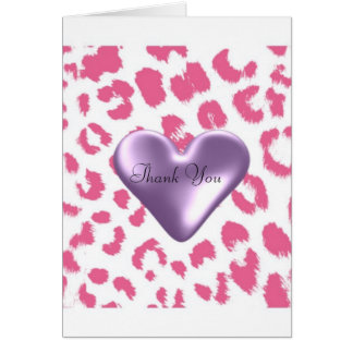 Pink Leopard Print with a Puffy Heart Thank You Card