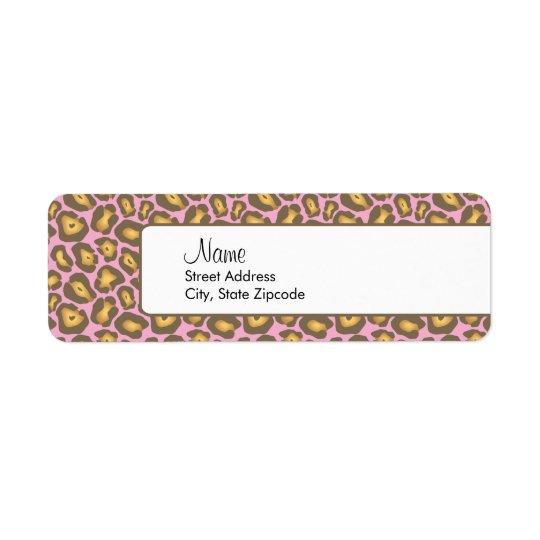 Pink Leopard Return Address Label