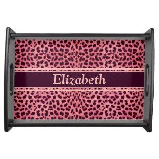 Pink Leopard Skin Pattern Personalize Serving Platters