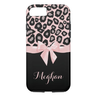 Pink Leopard Spots and Bow iPhone 7 Case