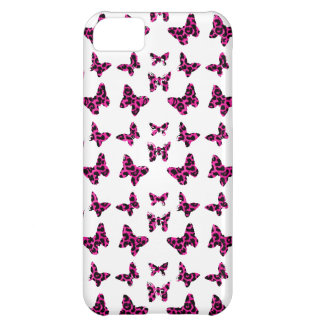 Pink Leopard Spots Butterflies Pattern Case For iPhone 5C