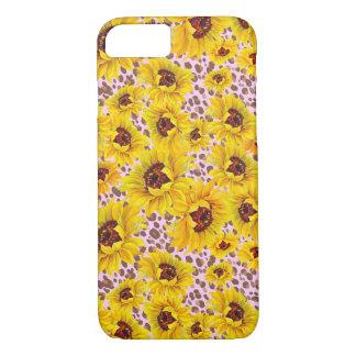 pink leopard sunflower iPhone case
