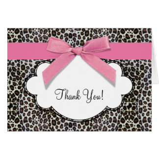 Pink Leopard Thank You Cards
