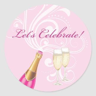 "Pink ""Lets Celebrate!"" Champagne Sticker"