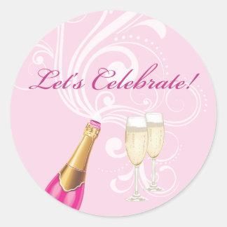 "Pink ""Lets Celebrate!"" Champagne Sticker"
