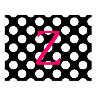 Pink Letter Z on Polka Dots Postcard