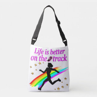 PINK LIFE IS BETTER ON THE TRACK DESIGN CROSSBODY BAG