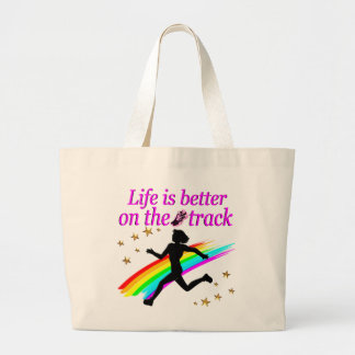 PINK LIFE IS BETTER ON THE TRACK DESIGN LARGE TOTE BAG