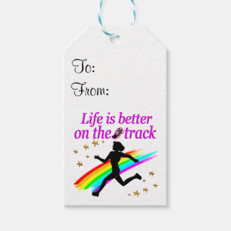PINK LIFE IS BETTER ON THE TRACK DESIGN PACK OF GIFT TAGS
