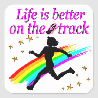 PINK LIFE IS BETTER ON THE TRACK DESIGN SQUARE STICKER