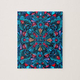 Pink light blue mandala on black jigsaw puzzle