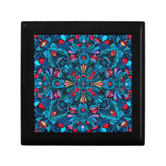 Pink light blue mandala on black keepsake boxes