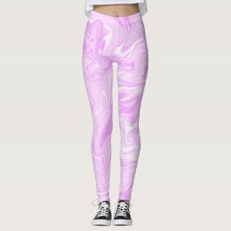 Pink light pastel marble abstract effect leggings. leggings