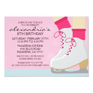 Pink Light Skin Skate Laces Ice Skating Party Custom Invite
