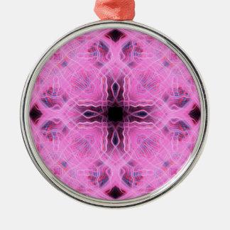 Pink light trails pattern metal ornament