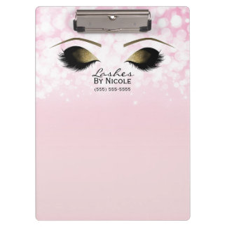 Pink Lights Gold Makeup Eyes Lashes Personalized Clipboard