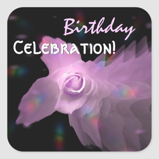 Pink Lilac Dancing Butterfly Rose Birthday Square Sticker