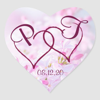 Pink lilac flowers and Two hearts customizable Heart Sticker
